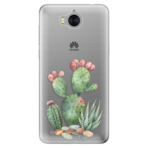 Silikonové pouzdro iSaprio (mléčně zakalené) Kaktusy 01 na mobil Huawei Y5 2017 / Y6 2017