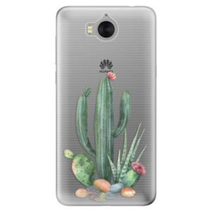 Silikonové pouzdro iSaprio (mléčně zakalené) Kaktusy 02 na mobil Huawei Y5 2017 / Y6 2017