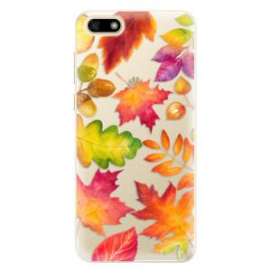 Silikonové pouzdro iSaprio (mléčně zakalené) Podzimní Lístečky na mobil Huawei Y5 2018