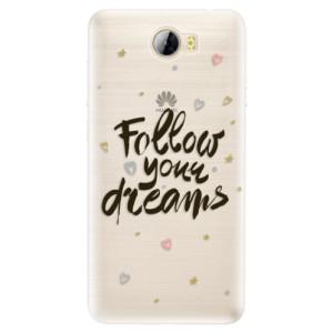 Silikonové pouzdro iSaprio (mléčně zakalené) Follow Your Dreams černý na mobil Huawei Y5 II / Y6 II Compact