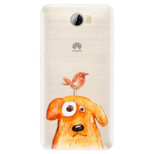 Silikonové pouzdro iSaprio (mléčně zakalené) Pejsek a Ptáček na mobil Huawei Y5 II / Y6 II Compact