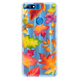 Silikonové pouzdro iSaprio (mléčně zakalené) Podzimní Lístečky na mobil Huawei Y7 Prime 2018