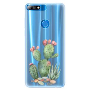 Silikonové pouzdro iSaprio (mléčně zakalené) Kaktusy 01 na mobil Huawei Y7 Prime 2018
