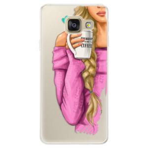 Silikonové pouzdro iSaprio (mléčně zakalené) Blondýnka s kafčem na mobil Samsung Galaxy A5 2016