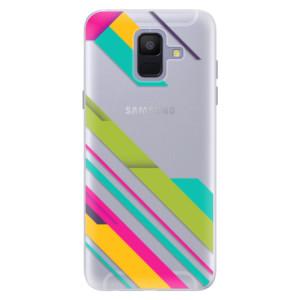 Silikonové pouzdro iSaprio (mléčně zakalené) Barevné Pruhy 03 na mobil Samsung Galaxy A6