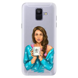 Silikonové pouzdro iSaprio (mléčně zakalené) Coffee Now Brunetka na mobil Samsung Galaxy A6