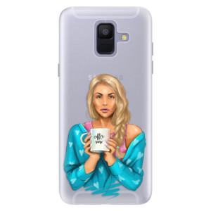 Silikonové pouzdro iSaprio (mléčně zakalené) Coffee Now Blondýna na mobil Samsung Galaxy A6