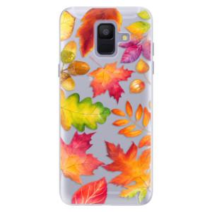 Silikonové pouzdro iSaprio (mléčně zakalené) Podzimní Lístečky na mobil Samsung Galaxy A6