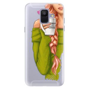Silikonové pouzdro iSaprio (mléčně zakalené) Zrzka s kafčem na mobil Samsung Galaxy A6