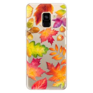 Silikonové pouzdro iSaprio (mléčně zakalené) Podzimní Lístečky na mobil Samsung Galaxy A8 2018