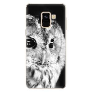 Silikonové pouzdro iSaprio (mléčně zakalené) BW Sova na mobil Samsung Galaxy A8 2018