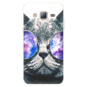 Silikonové pouzdro iSaprio (mléčně zakalené) Galaktická Číča na mobil Samsung Galaxy J3 2016