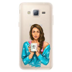 Silikonové pouzdro iSaprio (mléčně zakalené) Coffee Now Brunetka na mobil Samsung Galaxy J3 2016