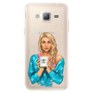 Silikonové pouzdro iSaprio (mléčně zakalené) Coffee Now Blondýna na mobil Samsung Galaxy J3 2016