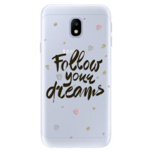 Silikonové pouzdro iSaprio (mléčně zakalené) Follow Your Dreams černý na mobil Samsung Galaxy J3 2017
