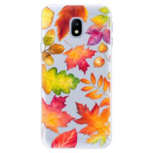 Silikonové pouzdro iSaprio (mléčně zakalené) Podzimní Lístečky na mobil Samsung Galaxy J3 2017