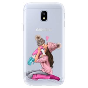 Silikonové pouzdro iSaprio (mléčně zakalené) Kissing Mom Brunette and Girl na mobil Samsung Galaxy J3 2017