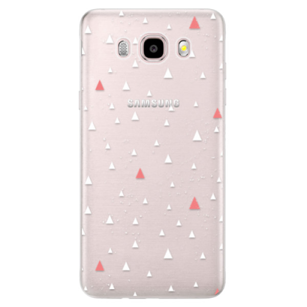 Silikonové pouzdro iSaprio (mléčně zakalené) - Abstract Triangles 02 white na mobil Samsung Galaxy J5 2016 (Silikonový kryt, obal, pouzdro iSaprio (mléčně zakalené) - Abstract Triangles 02 white na mobilní telefon Samsung Galaxy J5 2016)