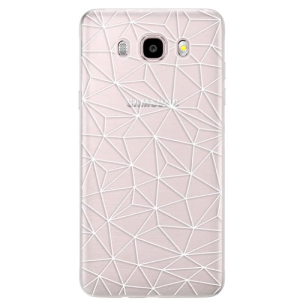 Silikonové pouzdro iSaprio (mléčně zakalené) - Abstract Triangles 03 white na mobil Samsung Galaxy J5 2016 (Silikonový kryt, obal, pouzdro iSaprio (mléčně zakalené) - Abstract Triangles 03 white na mobilní telefon Samsung Galaxy J5 2016)
