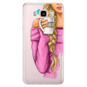 Silikonové pouzdro iSaprio (mléčně zakalené) - My Coffee and Blond Girl na mobil Samsung Galaxy J5 2016