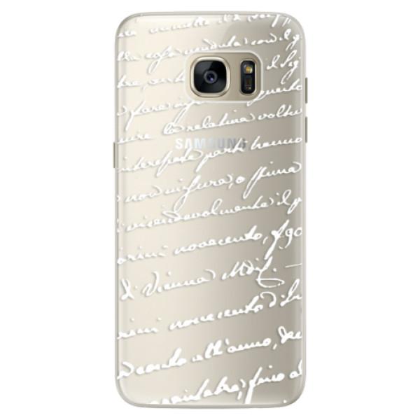 Silikonové pouzdro iSaprio (mléčně zakalené) Rukopis 01 bílý na mobil Samsung Galaxy S7 (Silikonový kryt, obal, pouzdro iSaprio (podkladové pouzdro není čiré, ale lehce mléčně zakalené) Rukopis 01 bílý na mobilní telefon Samsung Galaxy S7)