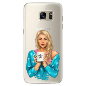 Silikonové pouzdro iSaprio (mléčně zakalené) Coffee Now Blondýna na mobil Samsung Galaxy S7