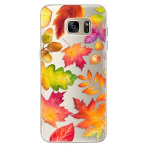 Silikonové pouzdro iSaprio (mléčně zakalené) Podzimní Lístečky na mobil Samsung Galaxy S7