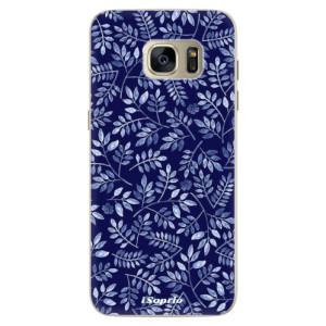 Silikonové pouzdro iSaprio (mléčně zakalené) Blue Leaves 05 na mobil Samsung Galaxy S7 Edge