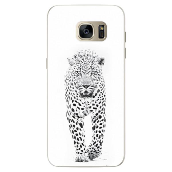 Silikonové pouzdro iSaprio (mléčně zakalené) Bílý Jaguár na mobil Samsung Galaxy S7 Edge (Silikonový kryt, obal, pouzdro iSaprio (podkladové pouzdro není čiré, ale lehce mléčně zakalené) Bílý Jaguár na mobilní telefon Samsung Galaxy S7 Edge)