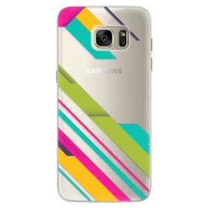 Silikonové pouzdro iSaprio (mléčně zakalené) Barevné Pruhy 03 na mobil Samsung Galaxy S7 Edge