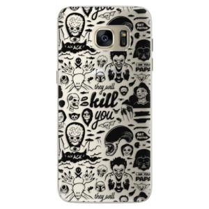 Silikonové pouzdro iSaprio (mléčně zakalené) Komiks 01 black na mobil Samsung Galaxy S7 Edge