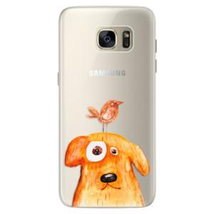Silikonové pouzdro iSaprio (mléčně zakalené) Pejsek a Ptáček na mobil Samsung Galaxy S7 Edge