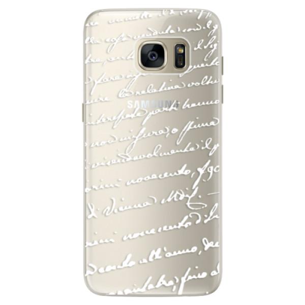 Silikonové pouzdro iSaprio (mléčně zakalené) Rukopis 01 bílý na mobil Samsung Galaxy S7 Edge (Silikonový kryt, obal, pouzdro iSaprio (podkladové pouzdro není čiré, ale lehce mléčně zakalené) Rukopis 01 bílý na mobilní telefon Samsung Galaxy S7 Edge)