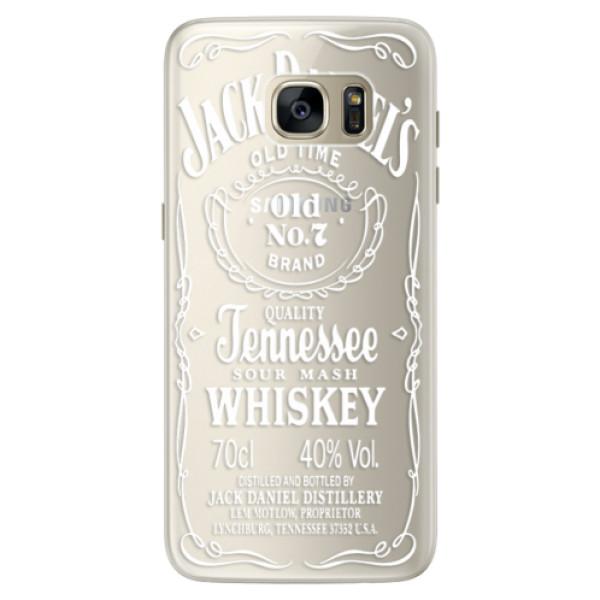 Silikonové pouzdro iSaprio (mléčně zakalené) Transparentí White Jack na mobil Samsung Galaxy S7 Edge (Silikonový kryt, obal, pouzdro iSaprio (podkladové pouzdro není čiré, ale lehce mléčně zakalené) Transparentí White Jack na mobilní telefon Samsung Galax