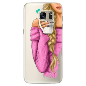 Silikonové pouzdro iSaprio (mléčně zakalené) Blondýnka s kafčem na mobil Samsung Galaxy S7 Edge