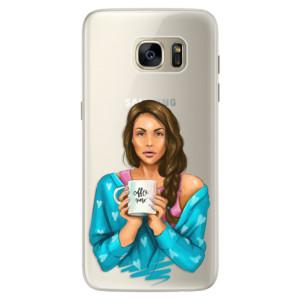 Silikonové pouzdro iSaprio (mléčně zakalené) Coffee Now Brunetka na mobil Samsung Galaxy S7 Edge