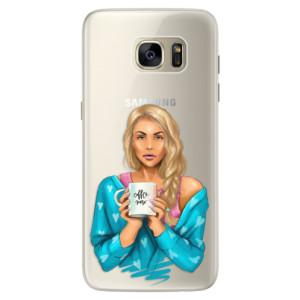Silikonové pouzdro iSaprio (mléčně zakalené) Coffee Now Blondýna na mobil Samsung Galaxy S7 Edge