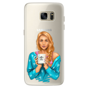 Silikonové pouzdro iSaprio (mléčně zakalené) Coffee Now Zrzka na mobil Samsung Galaxy S7 Edge
