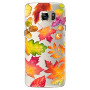 Silikonové pouzdro iSaprio (mléčně zakalené) Podzimní Lístečky na mobil Samsung Galaxy S7 Edge