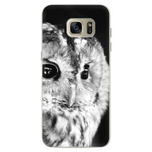 Silikonové pouzdro iSaprio (mléčně zakalené) BW Sova na mobil Samsung Galaxy S7 Edge