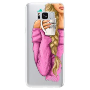Silikonové pouzdro iSaprio (mléčně zakalené) Blondýnka s kafčem na mobil Samsung Galaxy S8