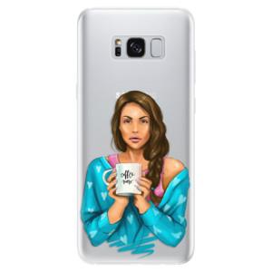 Silikonové pouzdro iSaprio (mléčně zakalené) Coffee Now Brunetka na mobil Samsung Galaxy S8