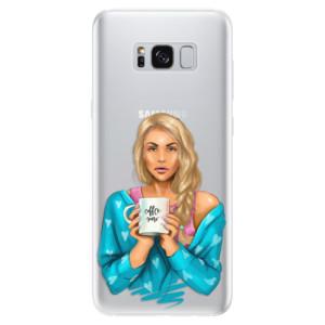 Silikonové pouzdro iSaprio (mléčně zakalené) Coffee Now Blondýna na mobil Samsung Galaxy S8
