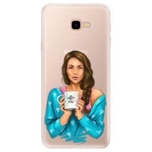 Silikonové pouzdro iSaprio (mléčně zakalené) Coffee Now Brunetka na mobil Samsung Galaxy J4 Plus