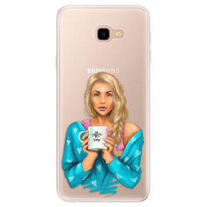 Silikonové pouzdro iSaprio (mléčně zakalené) Coffee Now Blondýna na mobil Samsung Galaxy J4 Plus