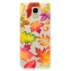 Silikonové pouzdro iSaprio (mléčně zakalené) Podzimní Lístečky na mobil Samsung Galaxy J6