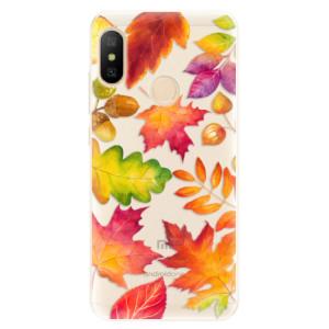Silikonové pouzdro iSaprio (mléčně zakalené) Podzimní Lístečky na mobil Xiaomi Mi A2 Lite