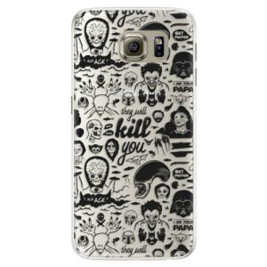 Silikonové pouzdro iSaprio (mléčně zakalené) Komiks 01 black na mobil Samsung Galaxy S6
