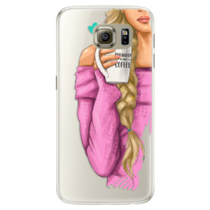 Silikonové pouzdro iSaprio (mléčně zakalené) Blondýnka s kafčem na mobil Samsung Galaxy S6