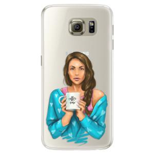 Silikonové pouzdro iSaprio (mléčně zakalené) Coffee Now Brunetka na mobil Samsung Galaxy S6